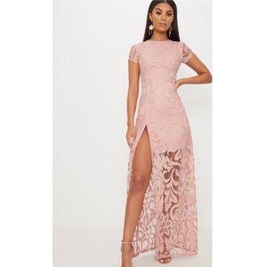 Nude lace Maxi dress with extreme split size 2 NWT
